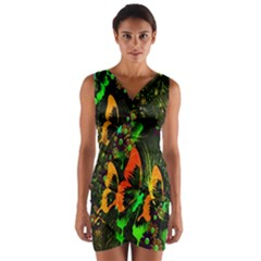 Butterfly Abstract Flowers Wrap Front Bodycon Dress