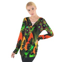 Butterfly Abstract Flowers Women s Tie Up Tee