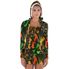 Butterfly Abstract Flowers Women s Long Sleeve Hooded T-shirt