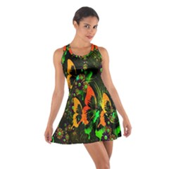 Butterfly Abstract Flowers Cotton Racerback Dress