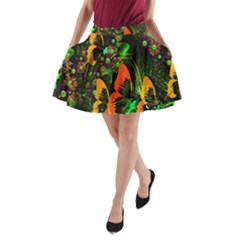 Butterfly Abstract Flowers A-Line Pocket Skirt