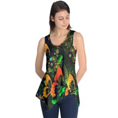 Butterfly Abstract Flowers Sleeveless Tunic