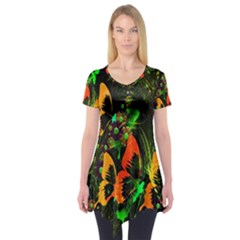 Butterfly Abstract Flowers Short Sleeve Tunic