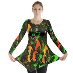 Butterfly Abstract Flowers Long Sleeve Tunic