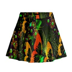Butterfly Abstract Flowers Mini Flare Skirt