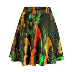 Butterfly Abstract Flowers High Waist Skirt