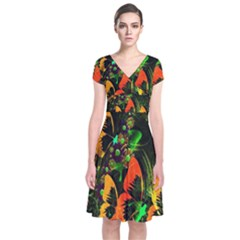 Butterfly Abstract Flowers Short Sleeve Front Wrap Dress
