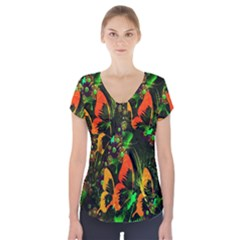 Butterfly Abstract Flowers Short Sleeve Front Detail Top