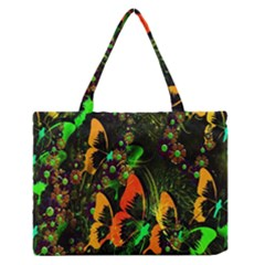 Butterfly Abstract Flowers Medium Zipper Tote Bag