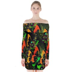 Butterfly Abstract Flowers Long Sleeve Off Shoulder Dress