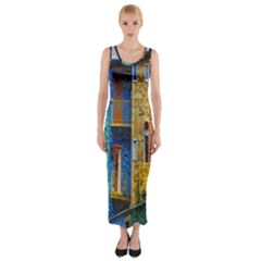 Buenos Aires Travel Fitted Maxi Dress