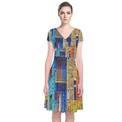 Buenos Aires Travel Short Sleeve Front Wrap Dress