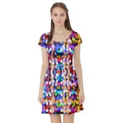 Bokeh Abstract Background Blur Short Sleeve Skater Dress