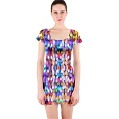 Bokeh Abstract Background Blur Short Sleeve Bodycon Dress