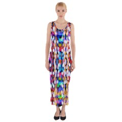 Bokeh Abstract Background Blur Fitted Maxi Dress