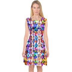 Bokeh Abstract Background Blur Capsleeve Midi Dress