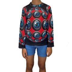 Camera Monitoring Security Kids  Long Sleeve Swimwear