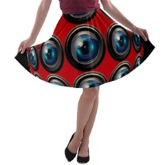 Camera Monitoring Security A-line Skater Skirt