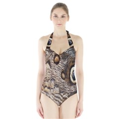 Butterfly Wing Detail Halter Swimsuit