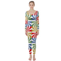 Candy Pattern  Long Sleeve Catsuit