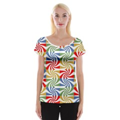 Candy Pattern  Women s Cap Sleeve Top