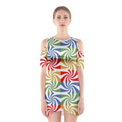 Candy Pattern  Shoulder Cutout One Piece