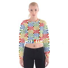 Candy Pattern  Women s Cropped Sweatshirt