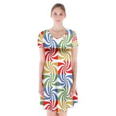 Candy Pattern  Short Sleeve V Neck Flare Dress