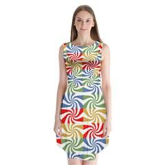 Candy Pattern  Sleeveless Chiffon Dress
