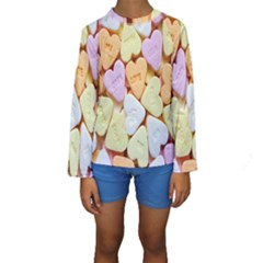 Candy Pattern Kids  Long Sleeve Swimwear