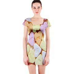 Candy Pattern Short Sleeve Bodycon Dress