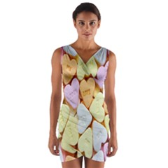 Candy Pattern Wrap Front Bodycon Dress