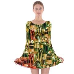 Candles Christmas Market Colors Long Sleeve Skater Dress