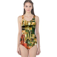 Candles Christmas Market Colors One Piece Swimsuit
