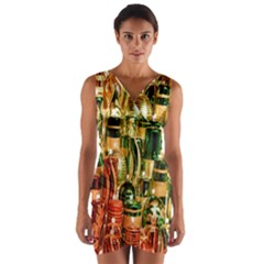 Candles Christmas Market Colors Wrap Front Bodycon Dress