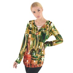 Candles Christmas Market Colors Women s Tie Up Tee