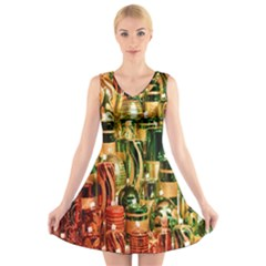 Candles Christmas Market Colors V Neck Sleeveless Skater Dress