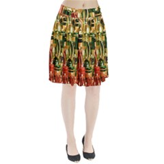 Candles Christmas Market Colors Pleated Skirt