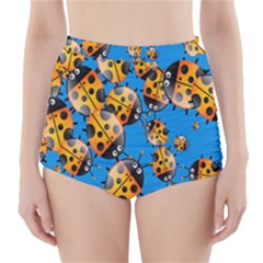 Cartoon Ladybug High-Waisted Bikini Bottoms