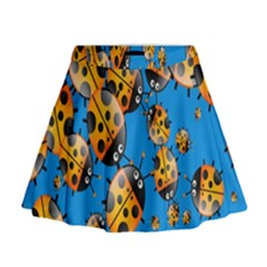 Cartoon Ladybug Mini Flare Skirt