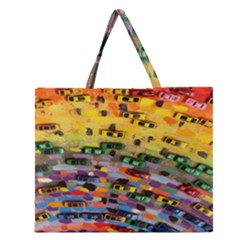 Car Painting Modern Art Zipper Large Tote Bag