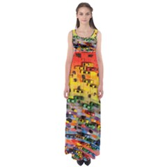 Car Painting Modern Art Empire Waist Maxi Dress
