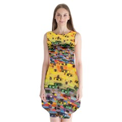 Car Painting Modern Art Sleeveless Chiffon Dress