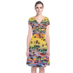 Car Painting Modern Art Short Sleeve Front Wrap Dress