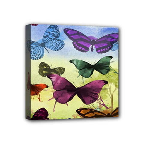 Butterfly Painting Art Graphic Mini Canvas 4  x 4