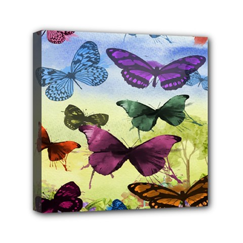 Butterfly Painting Art Graphic Mini Canvas 6  X 6