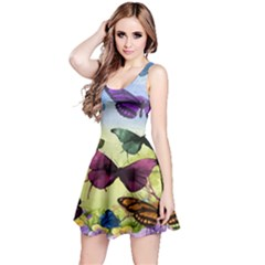Butterfly Painting Art Graphic Reversible Sleeveless Dress