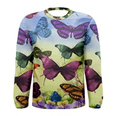Butterfly Painting Art Graphic Men s Long Sleeve Tee