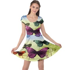 Butterfly Painting Art Graphic Cap Sleeve Dresses