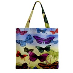 Butterfly Painting Art Graphic Zipper Grocery Tote Bag